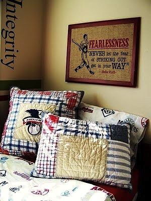 boys vintage baseball theme room with artwork and pillows