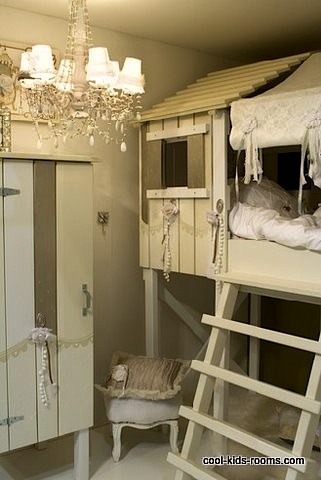 High Quality Rustic Cabin Loft Bed For Kids Room Idea