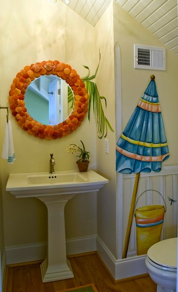 Awesome Painted Beach Mural For Kids Bathroom Wall Ideas