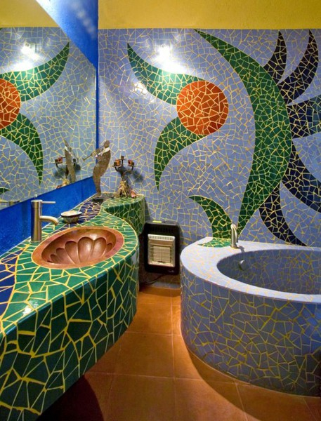 Mosaic Tile Kids Bathroom In Blue Green And Orange