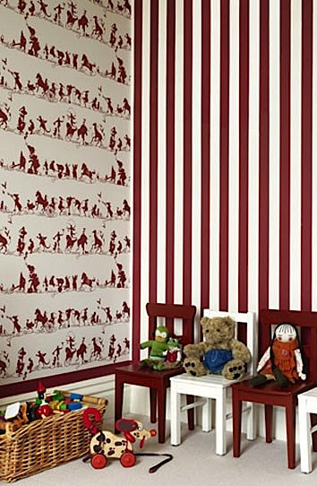 striped and printed wallpaper for kids playroom wall ideas