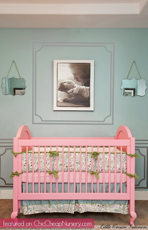faux molding for baby nursery wall ideas using paint