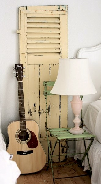 vintage folding chair reclaimed as nightstand for teen girls room