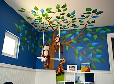 monkeys in tree wall mural for baby nursery wall art