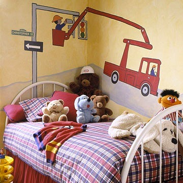 toddler wall art idea with painted mural of work truck