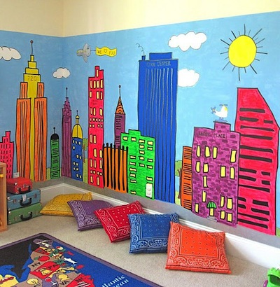 playroom wall art idea with city scape wall mural