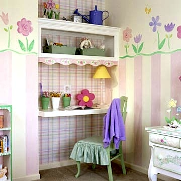 girls room wall art idea with painted flower garden