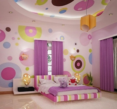mural of painted circles on wall and ceiling for tween girl room art