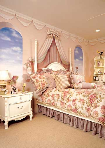 wall mural for tween girl room with trompe l'oeil art