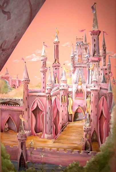 princess castle wall mural for kids room wall idea