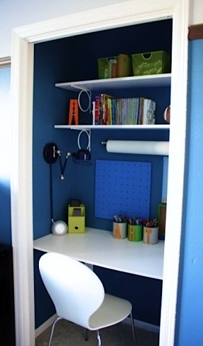 closet turned activity center for boys room ideas