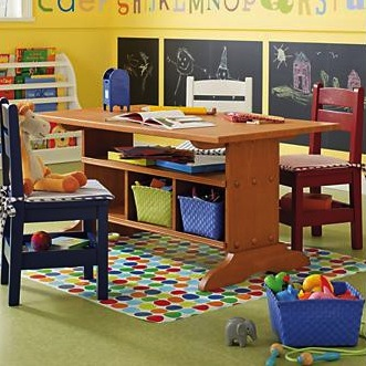 storage below table for kids activity center