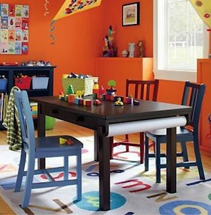 activity table with rolled paper storage for kids activity center