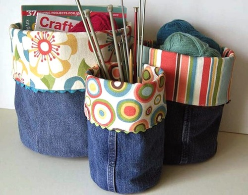 recycling kids blue jeans into containers using pant legs
