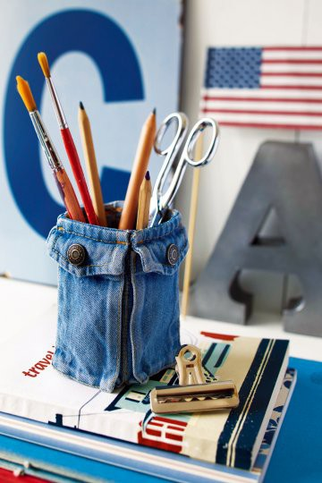 recycled denim blue jean made into desk accessory