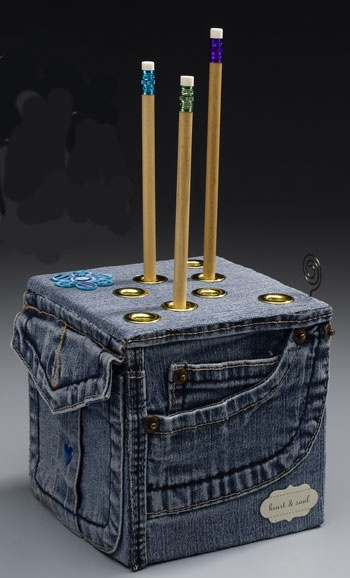 blue jean container for pencils made from recycled denim
