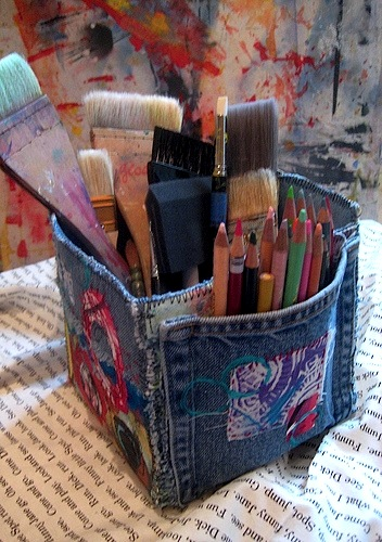 recycled denim into kids art supply container
