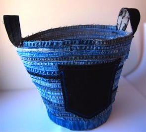 recycled teen blue jeans made into denim container