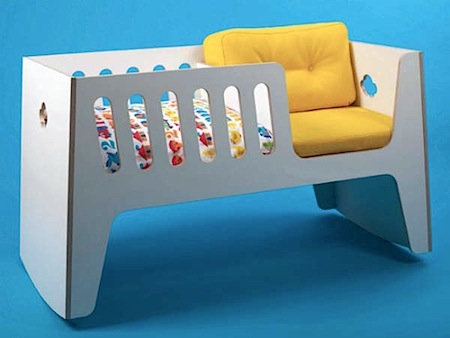 unique modern baby cradle includes seat for parent