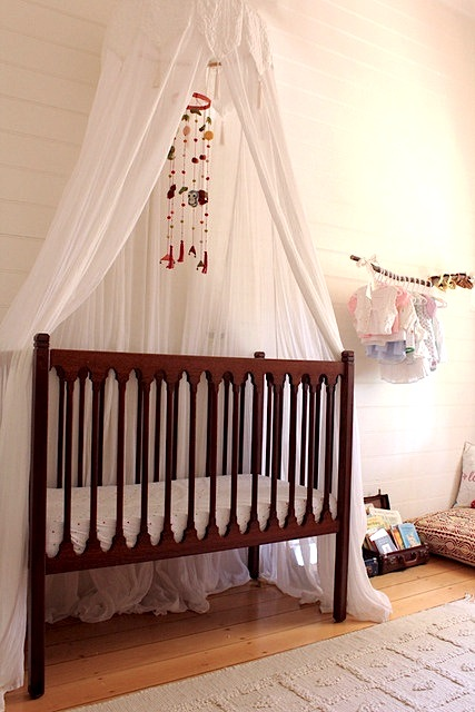 vintage crib for frugal nursery design