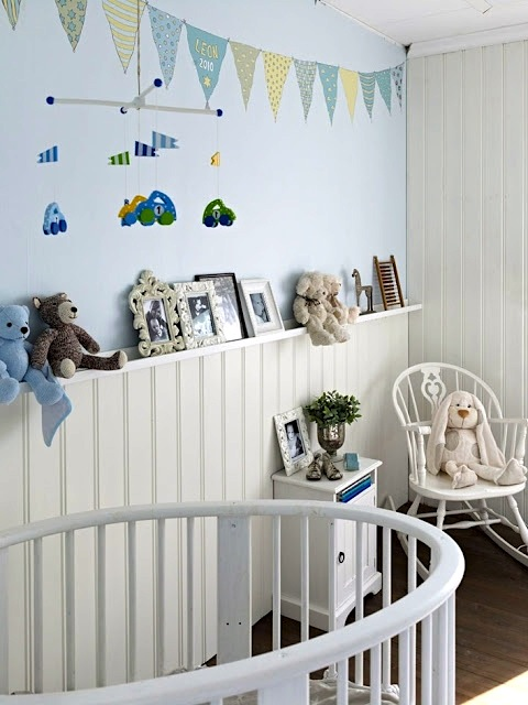 baby nursery wall ideas with beadboard wall and display ledge