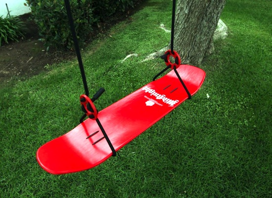 recycled skateboard swing seat for kids tree swing
