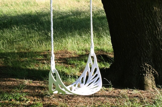 leaf swing seat handmade from molded aluminum