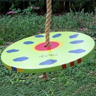 painted round tree swing seat