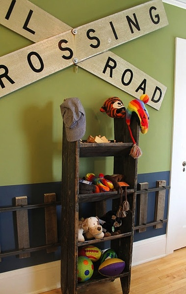 applied to the wall become a railroad track in a boy s themed room
