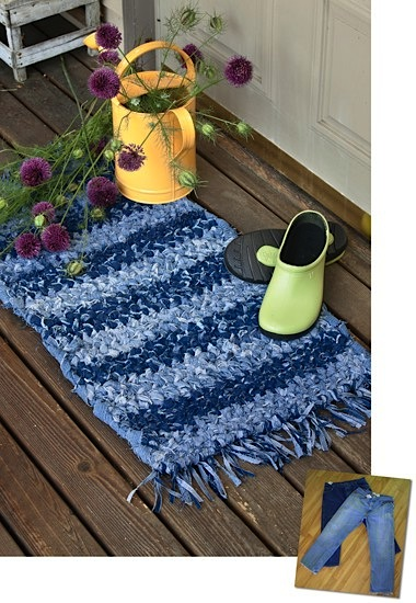 fringed blue jean rug