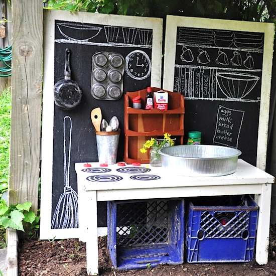 backyard activity center for kids with mini kitchen
