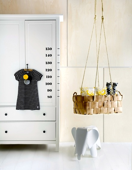 baby nursery ideas with woven basket suspended cradle
