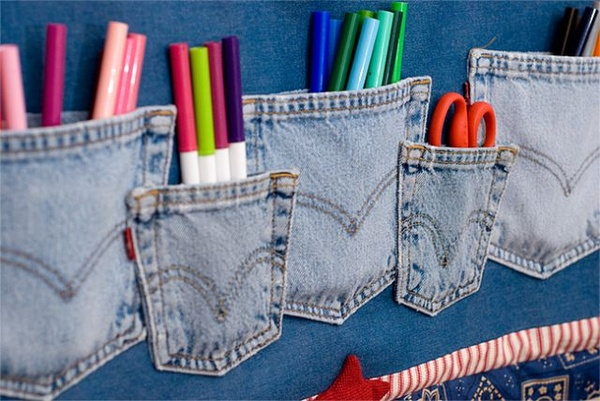 recycle kids blue jean pockets into art supply storage
