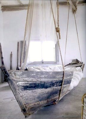 teen room bed ideas using weathered boat bed