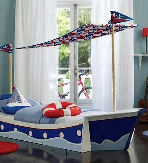 toddler room ideas with bed shaped like boat