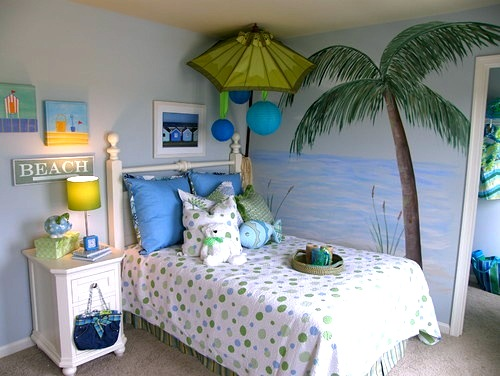 girls room beach theme with palm tree wall mural