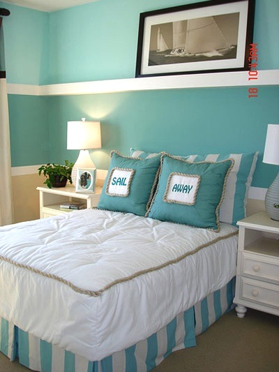 aqua color scheme for girls beach room ideas