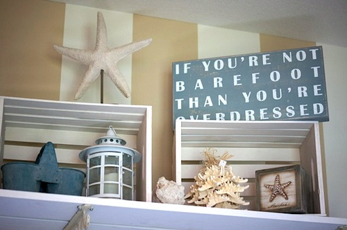 overdressed if not barefoot quote in girls beach theme room