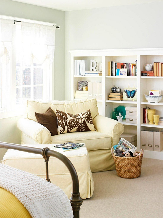 Chair For Two In Kid Friendly Master Bedroom
