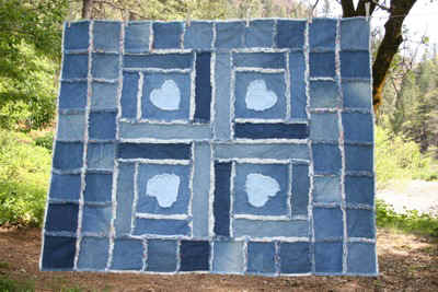 denim quilt made from recycled kids blue jeans