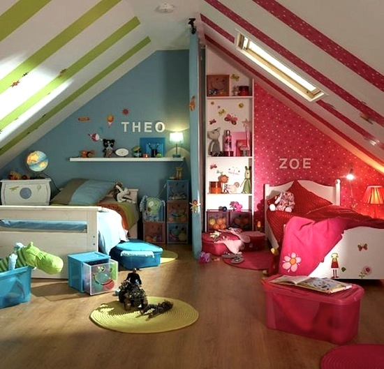 Colorful Kids Rooms: Use Color To Divide Kids' Rooms