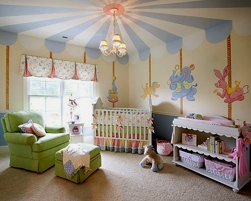 Baby Nursery Ceiling With Blue And White Painted Stripes