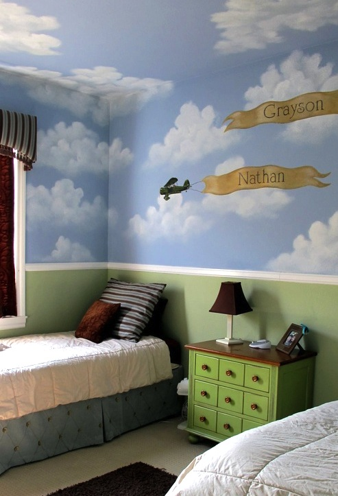 boys room ceiling with painted clouds and sky