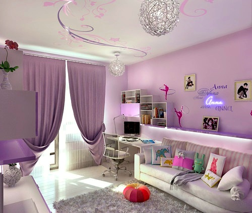 teenage girls room ceiling ideas with painted swirl