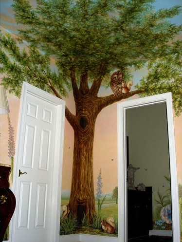 kids room ceiling ideas with painted tree ceiling mural