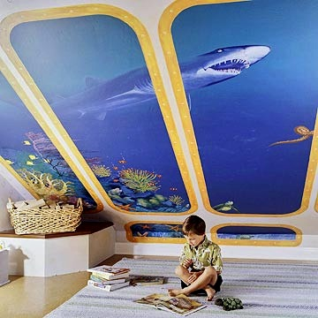 kids playroom ceiling ideas with shark tank mural