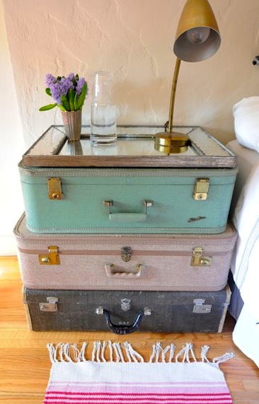 Vintage Nightstands Ideas : vintage teen room ideas with stacked suitcase nightstand