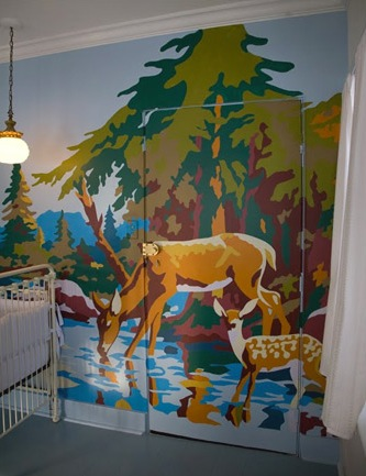 Baby nursery wall mural created usint vintage paint by number for Classic mural painting