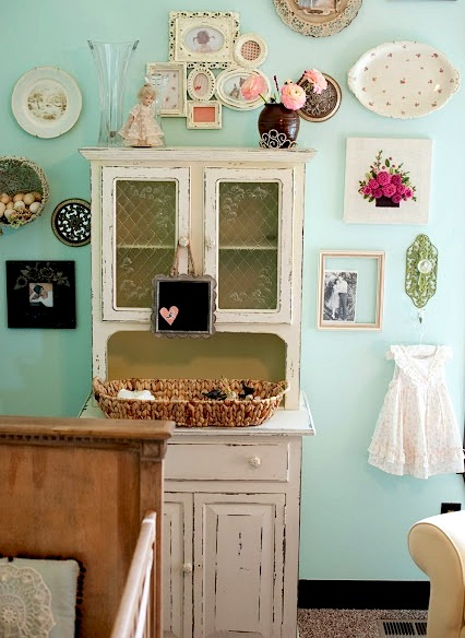 baby nursery storage ideas with vintage cupboard