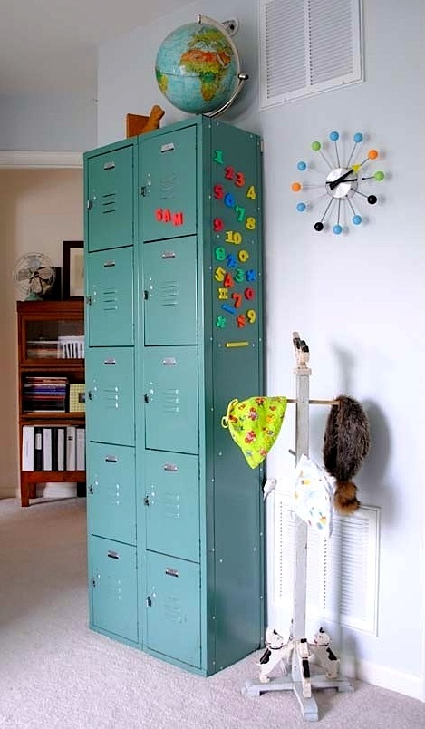 kids room storage ideas with vintage lockers